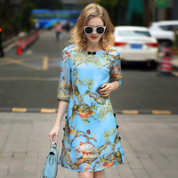 A3ZX033 Wholesale European Women Summer Clothes 2017 High Grade 100 REAL SILK Dress Printing Dress