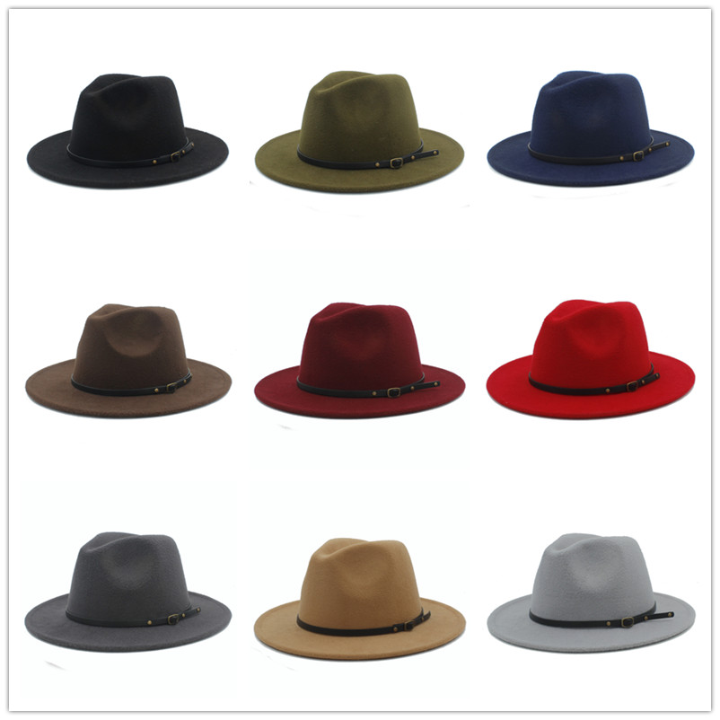 954e4527036 100% Wool Women Outback Felt Gangster Trilby Fedora Hat With Wide ...