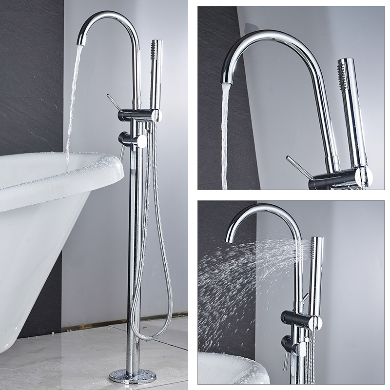цена на Quyanre Chrome Bathtub Faucet 360 Rotation Chrome Floor Stand Faucet Single Handle Mixer Tap ABS handshower Bath Faucets