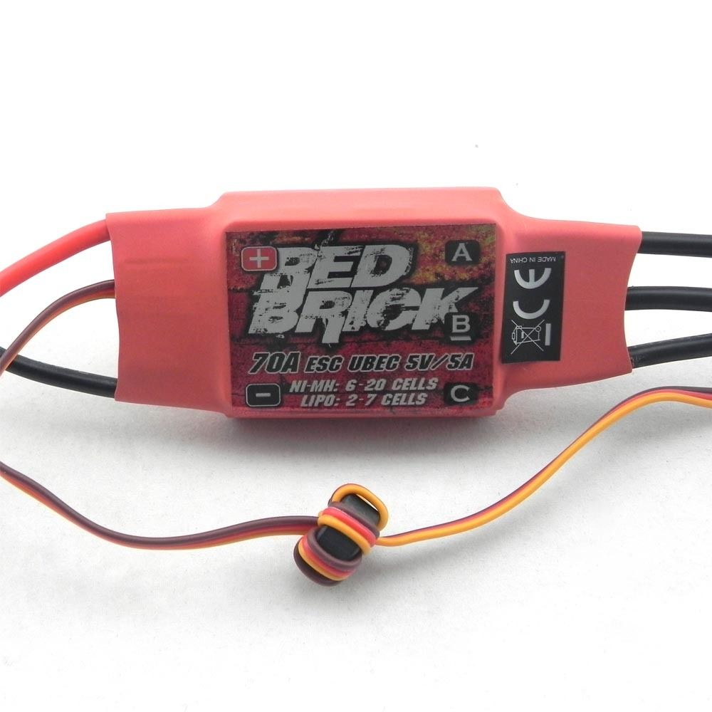Red Brick 70A Brushless ESC With 5V 5A UBEC for Helicopter Airplane Quadcopter cartoon airplane style red