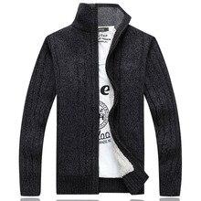 New Winter Men's Cotton Liner Sweater Zipper Long Sleeve Wool Christmas Sweater Coat Male Cardigan Knitwear Sueter Pull Homme