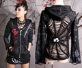 Punk Rave Готический Visual Kei Женская Мужская Черный Куртки Пальто Стимпанк Sml XL Y23