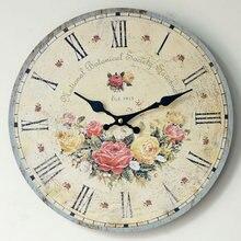 ZAKKA Home Decorative Nostalgic Flower Round Wall Clock Chic Wooden Wall Clocks for Restaurant Kitchen Livingroom