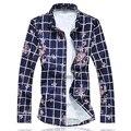 2017 Mens Dress Shirts Plaid M-5XL 6XL 7XL Camisas Hombre Vestir Chemise Homme C6130