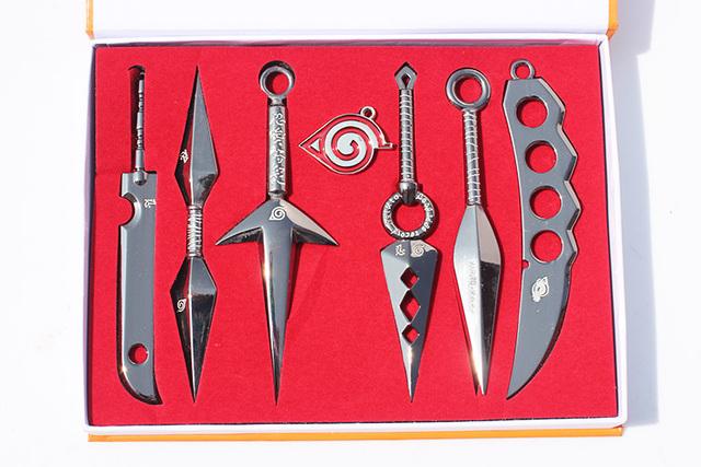 Naruto 7 pcs/set Hatake Kakashi Deidara Kunai Shuriken Weapons Pendant
