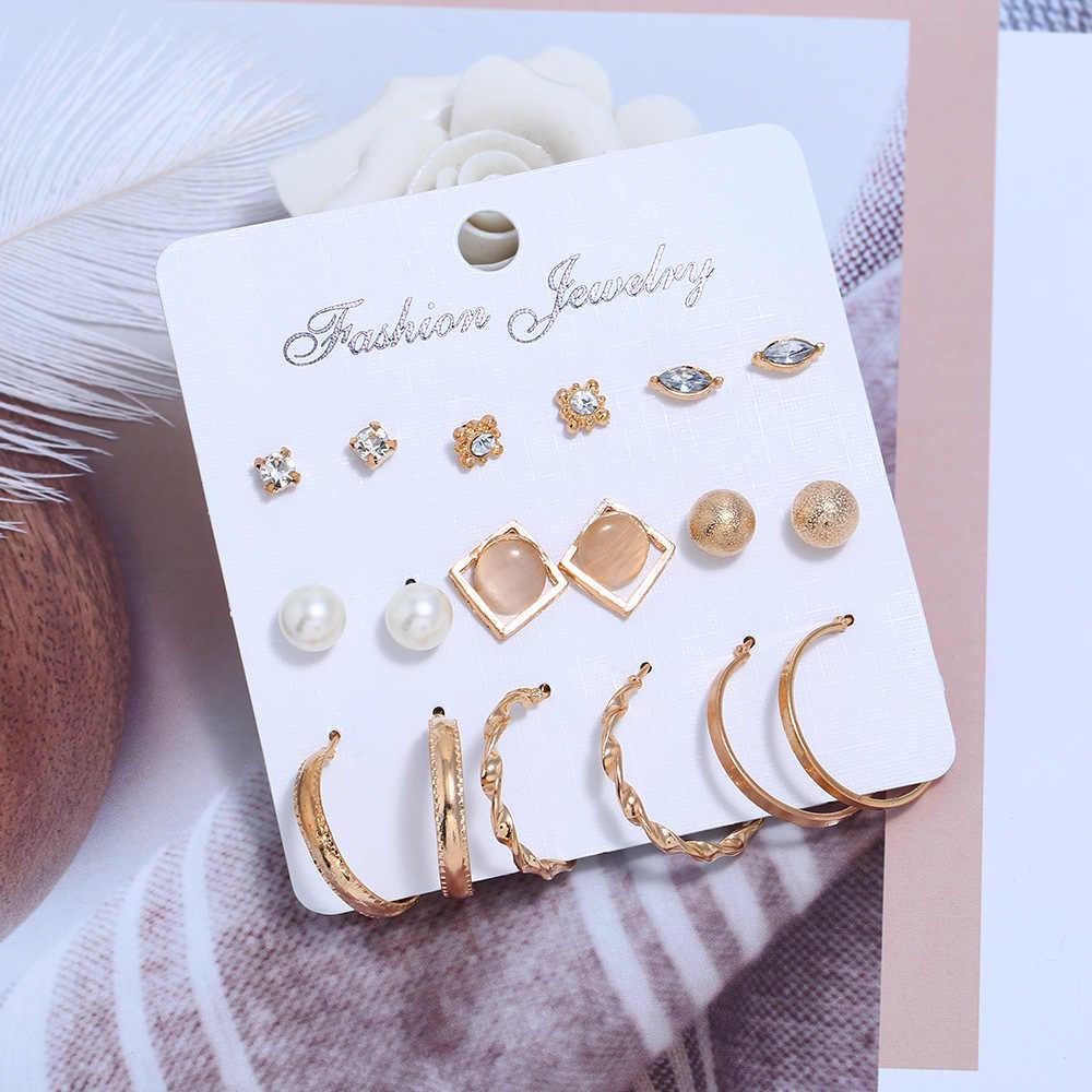 Jiayiqi Fashion Stud Earring Nine-piece Set Earrings Pearl CZ Female Alloy Plating Earrings Women's Jewelry