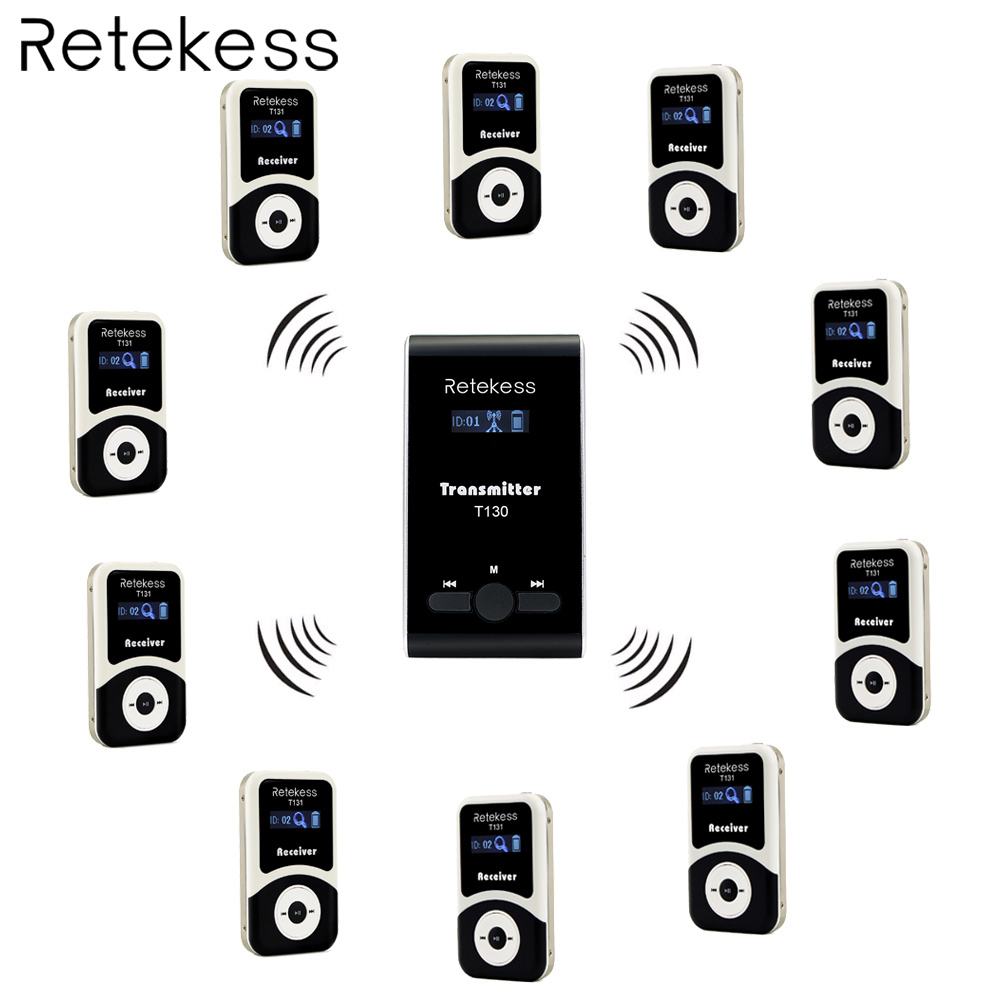 Retekess Wireless Tour Guide System 1 Transmitter+10 Receiver T131+Mic for Tour Guiding Simultaneous Translation InterpretationRetekess Wireless Tour Guide System 1 Transmitter+10 Receiver T131+Mic for Tour Guiding Simultaneous Translation Interpretation