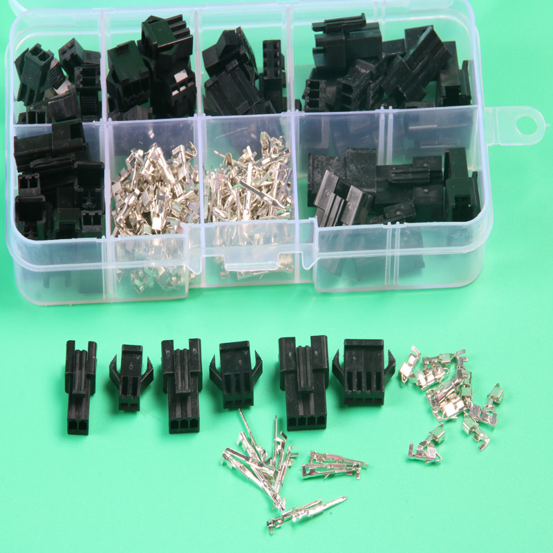 25 sets kit  sm 2.54mm automotive electrical wire connector plug for car in box  2p 3p 4pin xh2.54 electric wire connectors black 50 sets 4 pin dj3041y 1 6 11 21 deutsch connectors dt04 4p dt06 4s automobile waterproof wire electrical connector plug