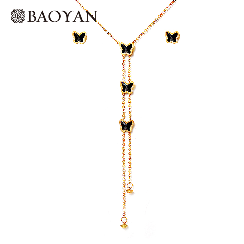 Baoyan Lariat Necklace Earrings Jewelry Set Gold Silver Color Stainless Steel Black Butterfly Jewelry Sets