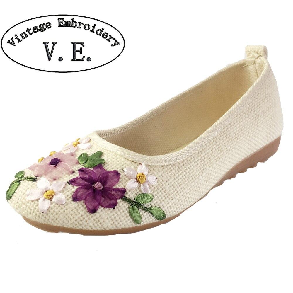 Linen Flat Shoes