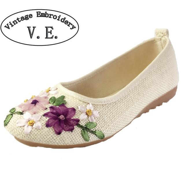 Vintage Embroidery Women Flats Flower Slip On Cotton Fabric Linen Comfortable Old Peking Ballerina Flat Shoes Sapato Feminino
