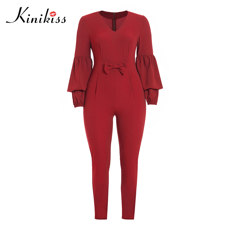 Kinikiss women jumpsuit high street full length sexy skinny pencil pants plus size bowknot fashion rompers womens jumpsuits