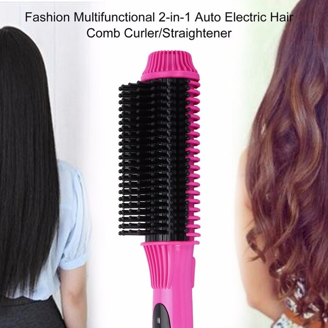 Multi-functional 2 in1 Electric Straightener Curler Hair Comb Anti-scald Curling Irons Hair Care Comb Styling Tools EU Plug Curling Iron