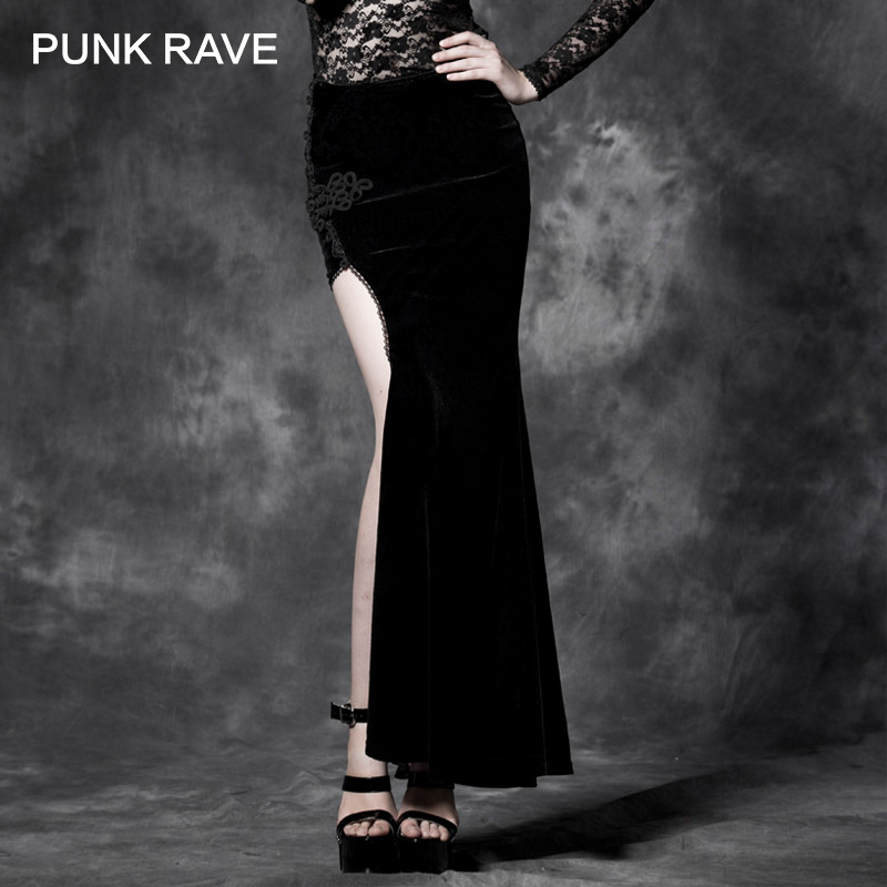 PUNK RAVE Gothic Style Sexy Split Black Asymmetric Punk Cheongsam Velvet Embroidery Long Maxi Skirt