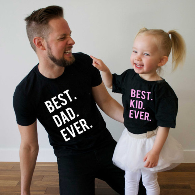bc70e5d8 Family Matching Clothes Father Baby Top Tee Best Dad Kid Ever Me and Mini Me  Mother Father and Son Daughter Matching T Shirt