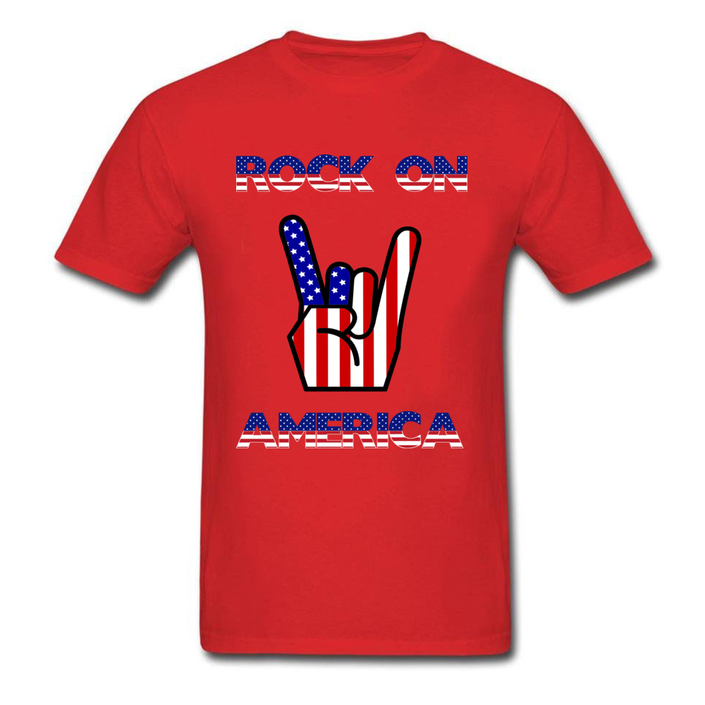 100% Cotton Rock On America Independence Day Design Male T-shirt