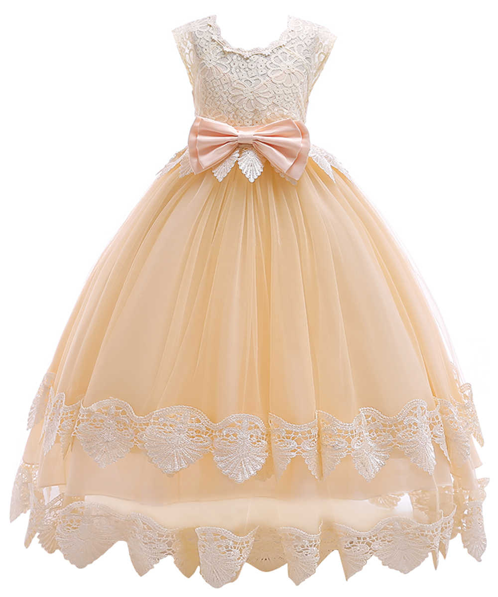 fb2f9f5852d ... Big Bow Lace Flower Girl Dresses Ankle Length Girls Pageant Dresses  First Communion Dresses Wedding Party ...