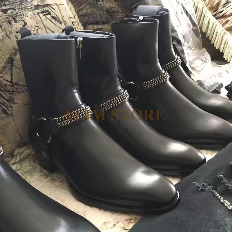 High Top Handmade genuine leather buckle strap chain men classical Harness Boots pointed toe slim west denim bootHigh Top Handmade genuine leather buckle strap chain men classical Harness Boots pointed toe slim west denim boot