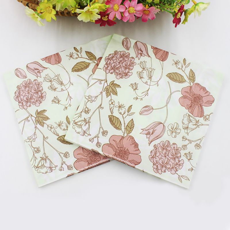 2018 20pcs/pack/lot Vintage Flower Paper Napkins Rose Festive Party Tissue Floral Decoration for Weeding Dinner and Party 2018