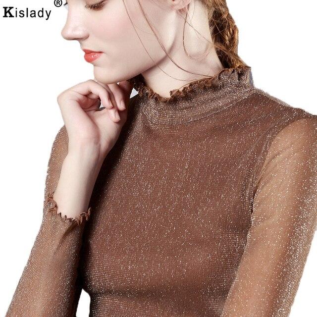 d4c792e43a2 Kislady 2018 Spring Autumn Female Mesh Shining Silk Shirt Women s Long  Transparent Sleeve Turtleneck Bottom Shirt Plus Size XXXL