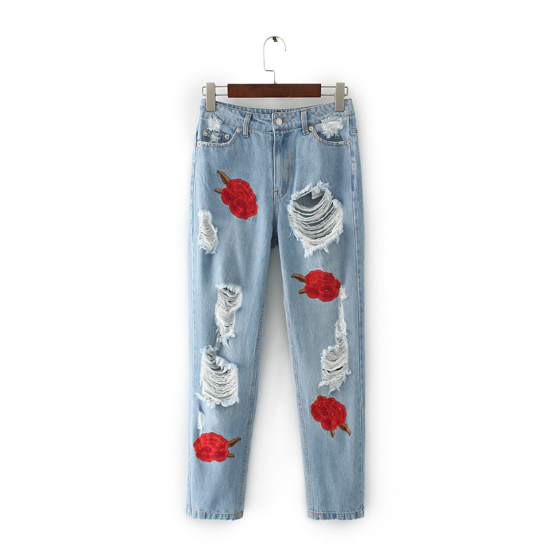 Women Jeans 2017 Spring New Fashion Red Rose Embroidery Ripped Hole Pants Mid Waist Full Length European Style Denim Bottoms