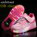 28~39 New Children Shoes USB Charging Luminous Sneakers With Wheel Kids Light Up Shoes For Girls Boys Roller Skate Shoes