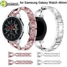 22mm 2018 New for Samsung Galaxy Watch 46mm Smart Metal Crystal Band Fashion Type x Wrist Strap Bracelet With Rhinestone