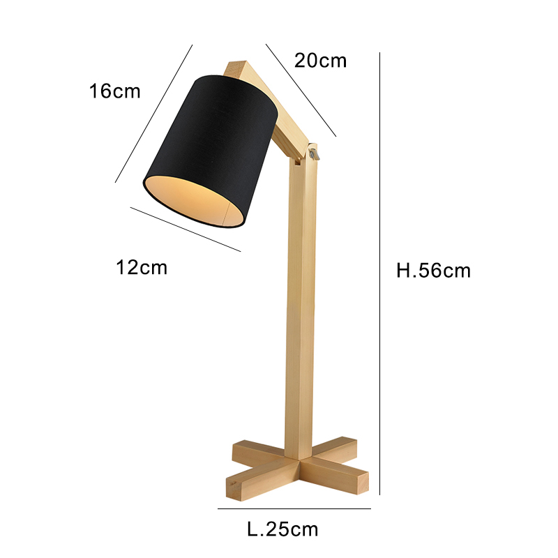 Nordic Wood Table lamp Japanese style white red Fabric Lampshade lamparas de mesa Desk Light Deco Luminaria For Living Room