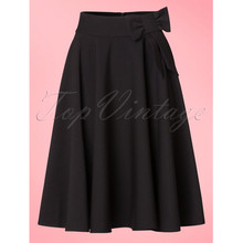 ef4bd29aefa 30- women vintage 50s elegant bonnie bow swing skirt in black plus size  faldas retro clothing full circle skirts