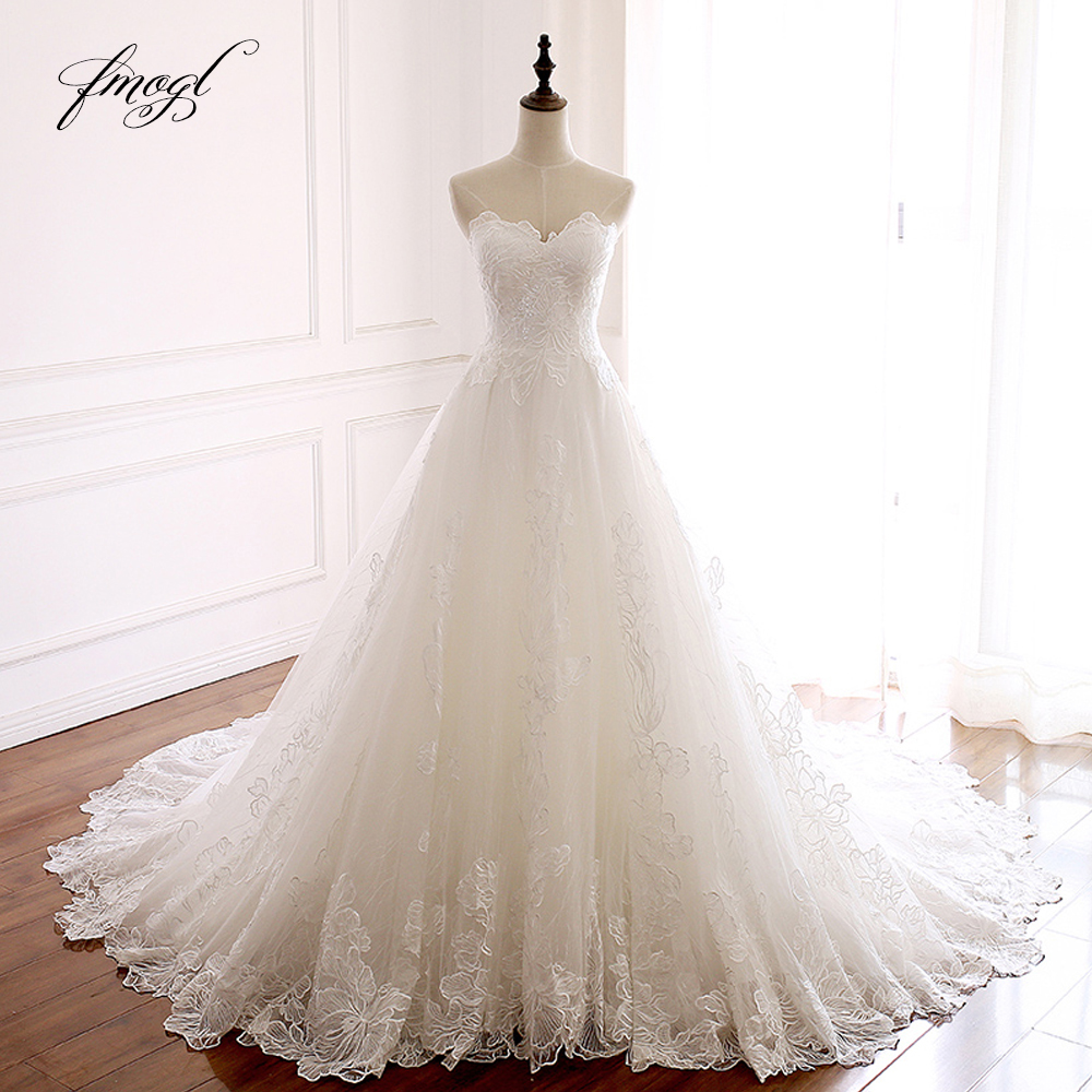 Fmogl Vestido De Noiva Sweetheart Lace Wedding Dresses 2019 Appliques Sexy Backless Off The Shoulder A Line Bridal Dress