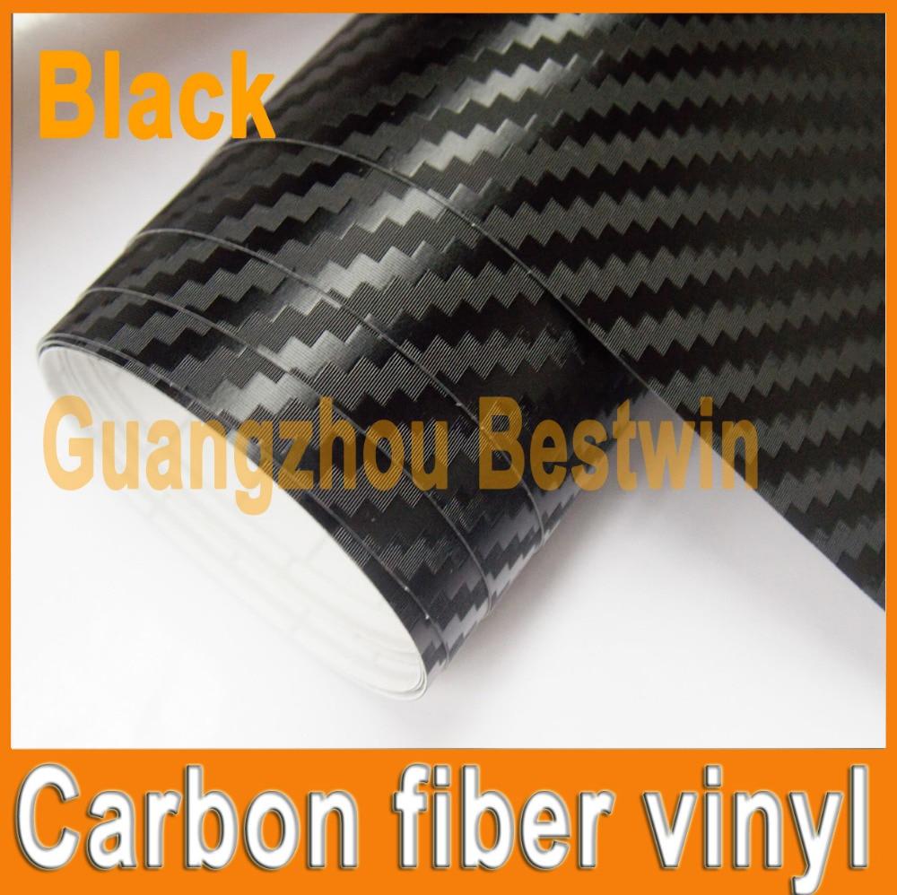 1 st Svart 1,52MX30 CM 3D kolfiber vinylfilm tjock kolfiber film bil klistermärke med bubbelfri FRI FRAKT