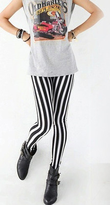 Women Sexy New Lady Fashion Skinny Chic Look Vertical Leggings Black And White Spandex Zebra Stripe Pants Lovely