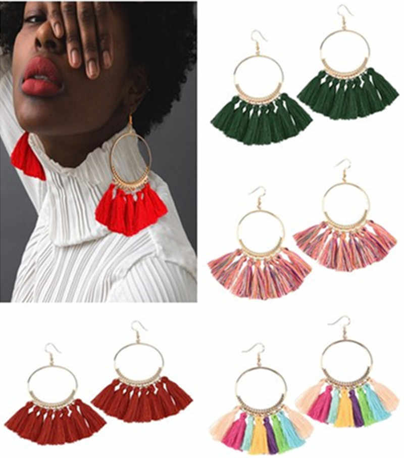 2019 Colors round dangling pendant Drop earrings woman fabric tassel earring ethnic bohemian fantasy fringed boucles d'oreille