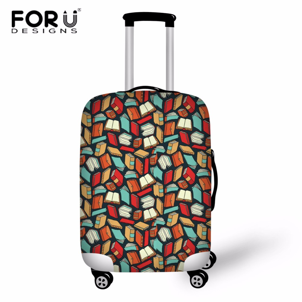 FORUDESIGNS Book Lover Luggage Protective Cover Alligator Luggage Case Cover for 18-30 inch Trolley Suitcase Elastic Rain Cover