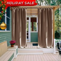 Outdoor Curtain Panel For Patio NICETOWN Tab Top Thermal Insulated Blackout Outdoor Curtain Drape For Patio