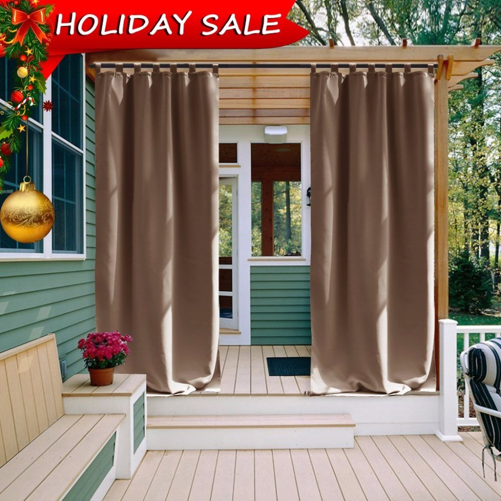 NICETOWN Outdoor Waterproof Curtain - Tab Top Thermal Insulated Blackout Outdoor Curtain / Drape for Patio / Front Porch