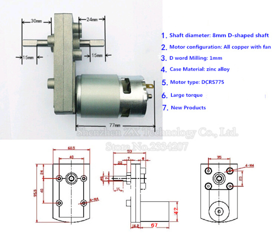 775 Double shaft DC Gear Motor Torque Export 6v / 12v / 24v 755 Biaxially geared motors 1.2rpm~220rpm CW CCW 20KGF.CM~100kgf.cm