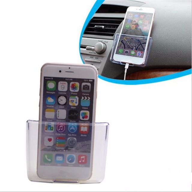 new concept d776b 60a85 US $4.04 25% OFF|Universal Car Phone Holder Transparent Storage Box Car  Organizer Mobile Phone Charge Box Cellphone Case Holder Car Accessories -in  ...
