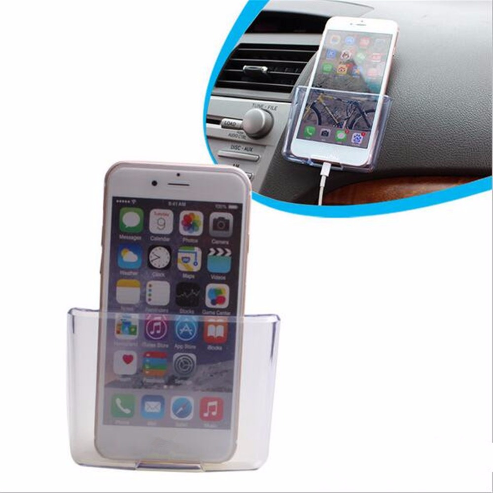 Universal Car Phone Holder Transparent Storage Box Car Organizer Mobile Phone Charge Box Cellphone Case Holder Car Accessories