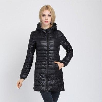 Зимняя женская куртка, новинка, тонкий пуховик с капюшоном, женский теплый пуховик, ультра легкие куртки, портативная парка на утином пуху, 6XL - Цвет: Black