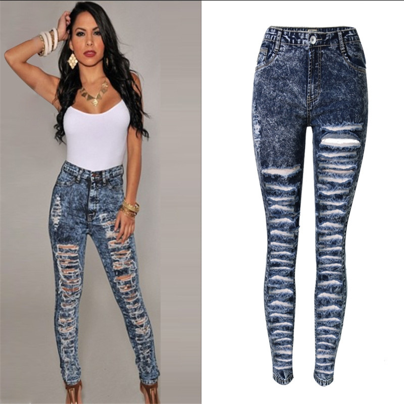 New Women s fashion high waist snowflake jeans personality big yards Ladies Cotton Denim Pants Stretch