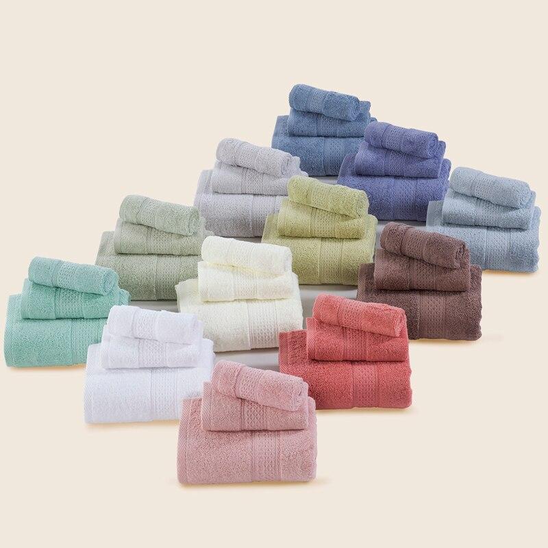 3 sets / lot Towel Set Pure Solid 12 Colors 100% Cotton Soft Bathroom Bath Face Towel Sets for Adults Kids