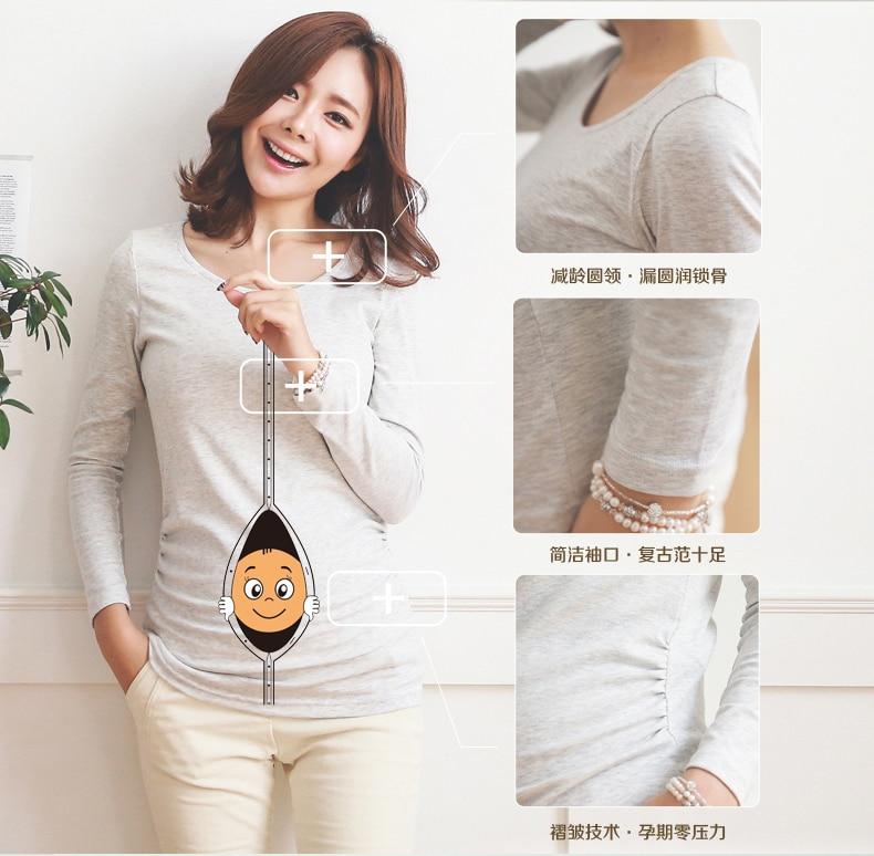 Peek-a-boo roliga tryckkläder för gravida europa-storlek mode-personlighet 100% bomullsmodell långärmad T-shirt