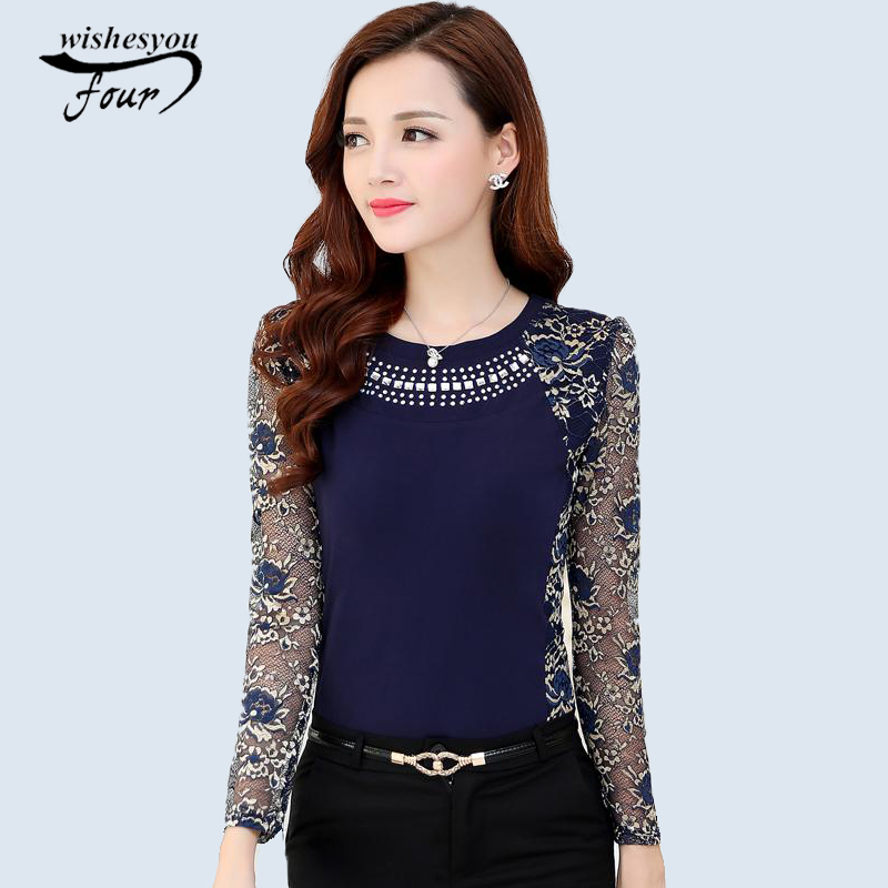 New 2018 Fashion High Quality Women's plus size lace   blouse     shirts   ladies long sleeve slim Lace patchwork Tops for women 160F20