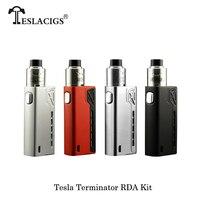 100% Original Electronic Cigarettes Teslacigs Tesla Terminator 90w Box Mod Kit 0.1 sub ohm Tank Atomizer E cigarettes Vaporizer