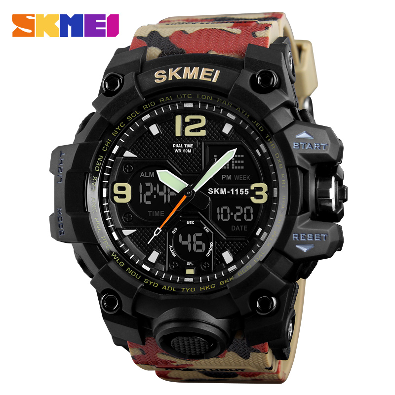 SKMEI Fashion Denim Style Sports Watches Men Outdoor Analog Digital LED Electronic Quartz Wristwatches Waterproof Watch 1155B