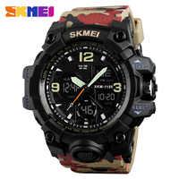 SKMEI mode Denim Style sport montres hommes en plein air analogique numérique LED électronique montres à Quartz montre étanche 1155B