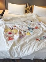 Summer Quilt Air Conditional Blanket Circus Clown Cartoon Style Cute Applique Embroidery Quilt 100% Cotton Outer Layer Throw