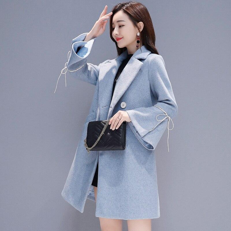 Col Turn down Et Beige Manteaux Manches Solide Polyester Vestes Régulier Beige Complet Ds016 blue Femmes Arrondi znU40wq
