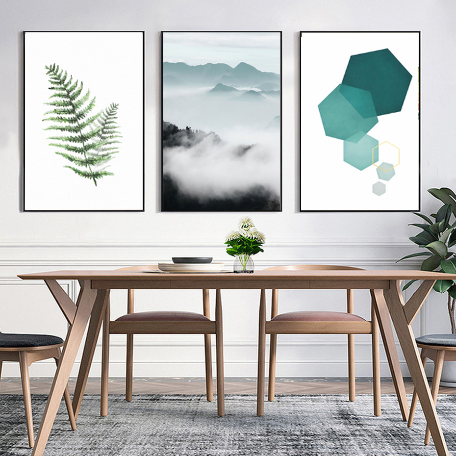 Abstract Landscape Geometry Canvas Paintings Modern Nordic ...